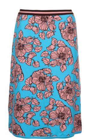 Хлопковая вязаная юбка А-силуэта Tak.Ori. Цвет: синий