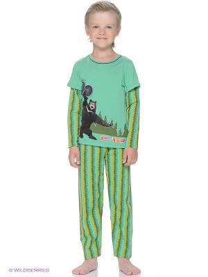 Пижама Lowry. Цвет: зеленый, коричневый, горчичный