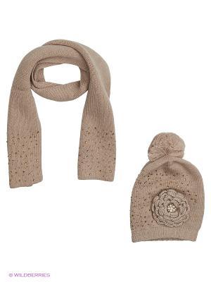 Комплект детский (шапка,шарф) R&I. Цвет: светло-бежевый
