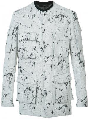 Рубашка с карманами и принтом в виде брызг Tom Rebl. Цвет: серый