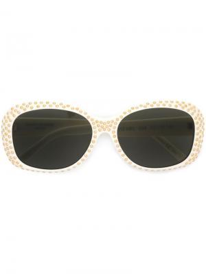 Солнцезащитные очки в круглой оправе Saint Laurent Eyewear. Цвет: белый