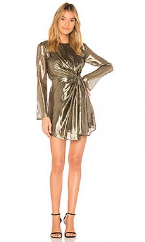 Мини платье allegra LoveShackFancy. Цвет: металлический золотой