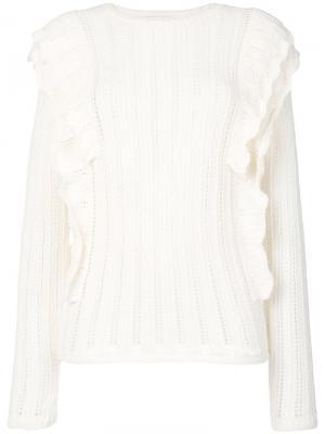 Ажурный вязаный свитер Dolipa Iro. Цвет: белый