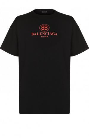 Хлопковая футболка с логотипом бренда Balenciaga. Цвет: черный