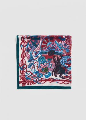 Платок с цветочным принтом OSTIN. Цвет: пурпурный