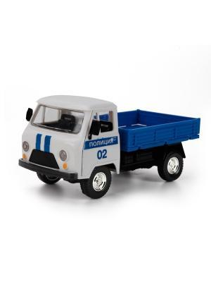Машина Технопарк пластмассовая, инерционная, свет, звук УАЗ. Полиция.. Цвет: синий,белый