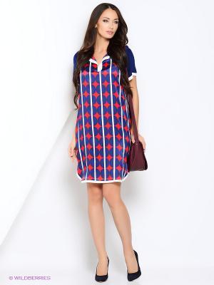 Платье KI6 Who are you. Цвет: синий, красный