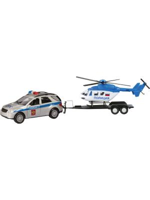 Машина GERMANY ALLROAD с вертолётом, полиция 1:36 AUTOTIME. Цвет: серебристый