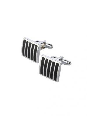 Запонки классические квадратные в полосочку Churchill accessories. Цвет: серебристый