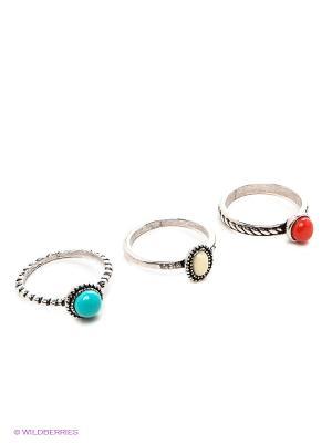 Кольцо, 3 шт. Royal Diamond. Цвет: серебристый, молочный, красный, голубой
