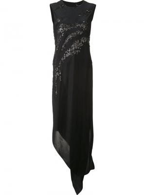 Асимметричное платье с пайетками Narciso Rodriguez. Цвет: чёрный