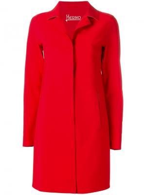 Однобортное пальто Herno. Цвет: красный