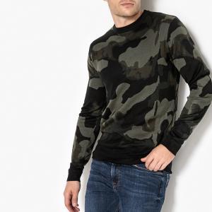 Пуловер с круглым вырезом, из тонкого трикотажа La Redoute Collections. Цвет: хаки/камуфляж