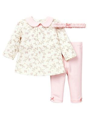 Комплект из 3-х предметов Птички Little Me. Цвет: белый, розовый