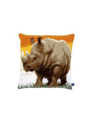Набор для вышивания лицевой стороны наволочки Носорог 40*40см Vervaco. Цвет: оранжевый, желтый, зеленый, коричневый, серый