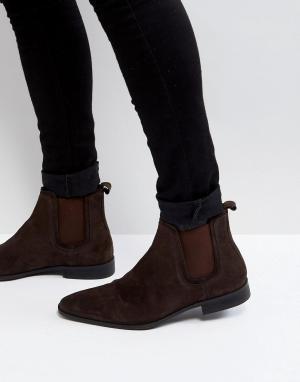 Zign Коричневые замшевые ботинки челси. Цвет: коричневый