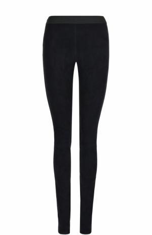 Замшевые брюки-скинни с контрастным поясом DROMe. Цвет: темно-синий