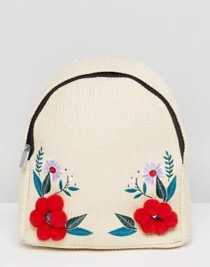Skinnydip Соломенный рюкзак с цветами и помпонами. Цвет: бежевый