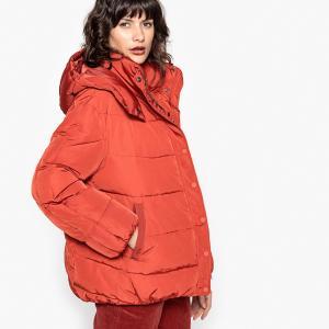 Куртка стеганая с капюшоном La Redoute Collections. Цвет: красный/ кирпичный,слоновая кость,черный