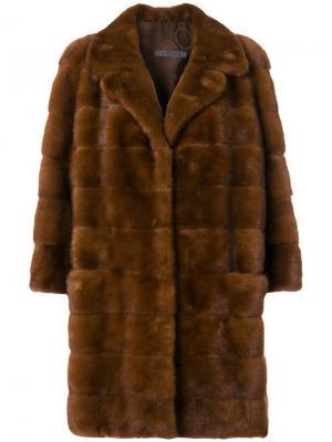 Норковое пальто с панельным дизайном Simonetta Ravizza. Цвет: коричневый