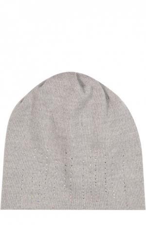 Шерстяная шапка со стразами Il Trenino. Цвет: светло-серый