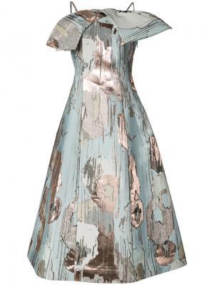 Расклешенное платье с эффектом металлик Vika Gazinskaya. Цвет: синий