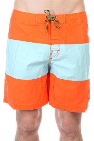 Шорты пляжные  Strange Rumblings Boardshort Caribbean Globe. Цвет: оранжевый,голубой
