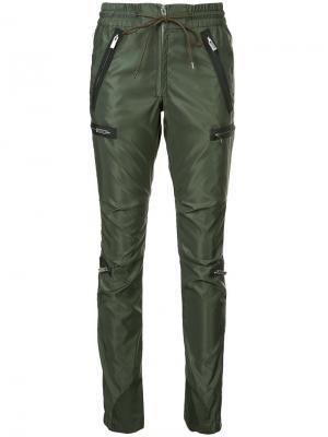 Zip embellished track pants Sacai. Цвет: зелёный