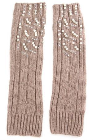 Перчатки-митенки Elisabeth. Цвет: темно-бежевый