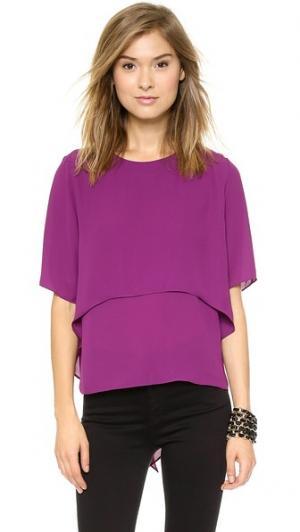 Блузка с короткими рукавами MISA. Цвет: малиновый