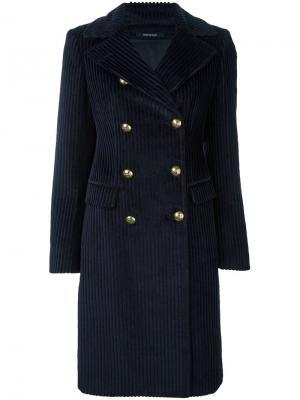 Двубортное пальто Tagliatore. Цвет: синий