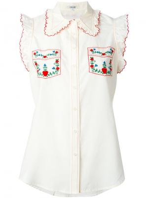Рубашка с вышивкой Manoush. Цвет: телесный