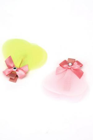 Набор заколок NICE GIRL. Цвет: розовый, желтый