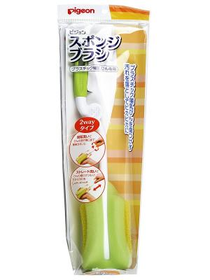 Щетка с губкой для мытья детских бутылочек PIGEON. Цвет: салатовый