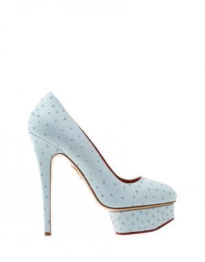 Туфли из страусиной кожи Dolly Charlotte Olympia. Цвет: голубой