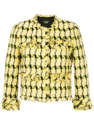 Твидовый пиджак Boutique Moschino. Цвет: жёлтый и оранжевый