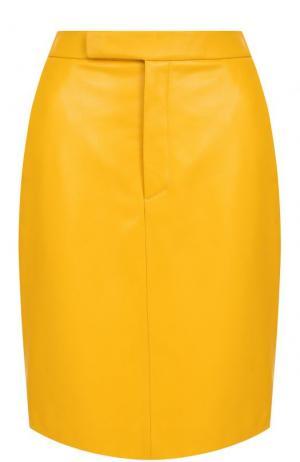 Однотонная кожаная юбка с карманами Ralph Lauren. Цвет: желтый