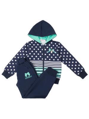 Спортивный костюм для девочки 7 одежек. Цвет: синий, салатовый