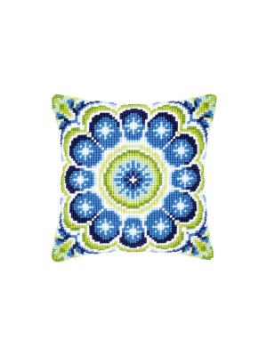 Набор для вышивания лицевой стороны наволочки Сине-зеленая розетка. 40*40см Vervaco. Цвет: белый, голубой, зеленый, синий