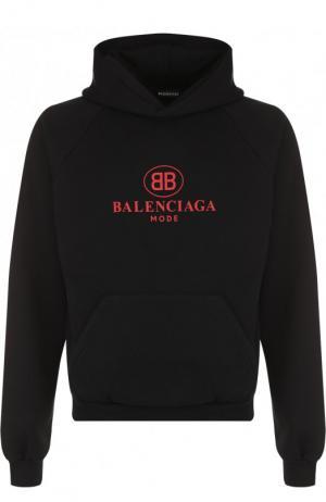 Хлопковое худи с логотипом бренда Balenciaga. Цвет: черный