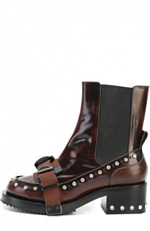 Кожаные ботинки со стразами и ремешком No. 21. Цвет: коричневый