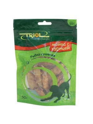 Рыбка сушеная с курицей для собак TRIOL. Цвет: коричневый