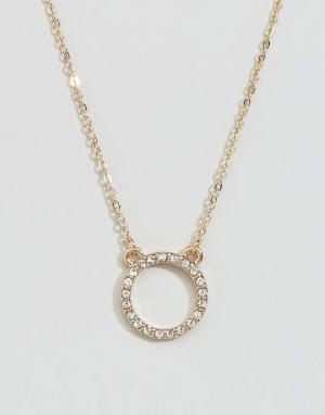 DesignB London Ожерелье с круглой подвеской. Цвет: золотой