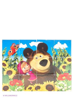 Набор из 12-и кубиков Маша и медведь Играем вместе. Цвет: голубой, коричневый, малиновый