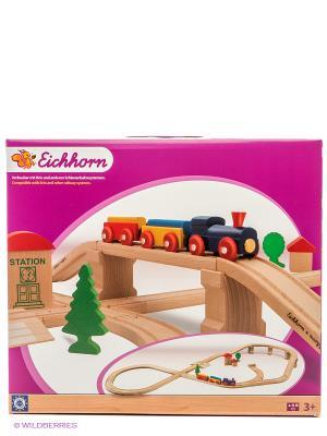 Набор деревянной ж/д с мостом и тупиком, 45 дет. Eichhorn. Цвет: бежевый