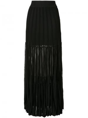 Полупрозрачная плиссированная юбка-макси Chloé. Цвет: чёрный