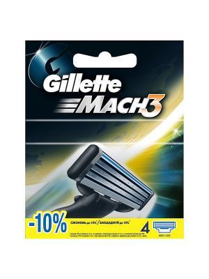 Сменные кассеты Mach3 , 4 шт GILLETTE. Цвет: синий