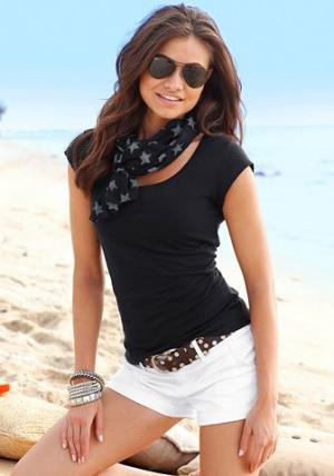 Комплект: кофточка + шарф BEACHTIME. Цвет: черный