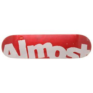 Дека для скейтборда  S6 Hyb Side Pipe Red 31.5 x 8.25 (21 см) Almost. Цвет: белый,красный