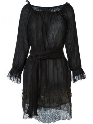 Плиссированное платье с отделкой металлик Alberta Ferretti. Цвет: чёрный